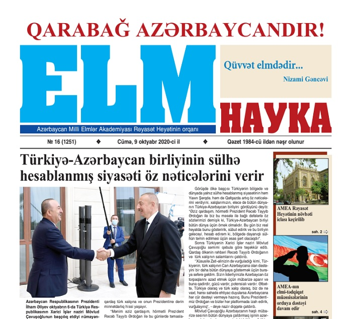 """Elm"" newspaper published with a slogan of ""Karabakh is Azerbaijan!"""